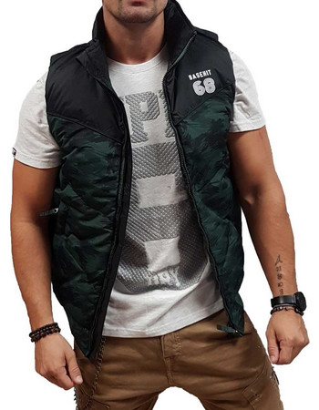 0478f3dc14d4 Basehit Fake Down Quilted Vest Jacket 182.BM10.135-Forest-Black