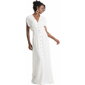 7e6b625a5812 Άμεσα διαθέσιμο. F20615 Φόρεμα Maxi με Κουμπάκια - ΑΣΠΡΟ 18681