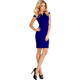 080f4a32cbbc 70051 NU Κομψό μίνι φόρεμα με κοντό μανίκι - μπλέ