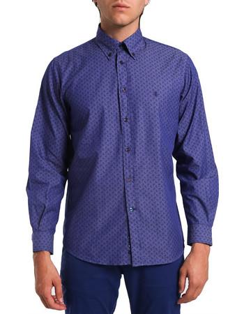 Ανδρικό μονόχρωμο πουκάμισο με μικροσχέδιο The Bostonians - AAP1074 - Μπλε  Σκούρο c0d201c2e5d