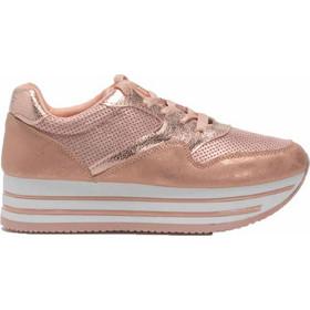Sneakers με flatform σόλα και μεταλλιζέ λεπτομέρειες - Ροζ e11dc8bd580