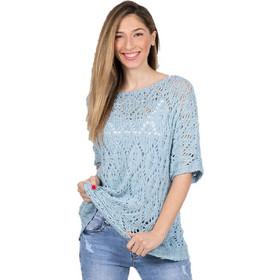 ac8cdf75803b Πλεκτή μπλούζα ελαστική βαμβακερή Σιέλ - Σιέλ