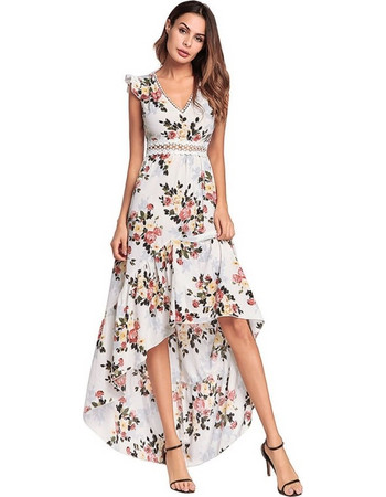 2018 Spring New Style European Female Flying Sleeves Princess Dress  Graceful Backless Irregular Swallowtail Long Dress 1b045b09281