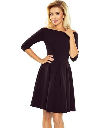 1e0a6287953f 70120 NU Μίνι φόρεμα με έξω ώμους και μανίκια 3 4 - μαύρο