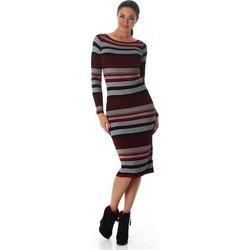 61072 LX Μίντι πλεκτό φόρεμα ριγέ - μπορντώ 0892f5a1f67