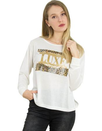 Γυναικεία λευκή πλεκτή μπλούζα λεοπάρ τύπωμα 1175945 06a2f3fd01d