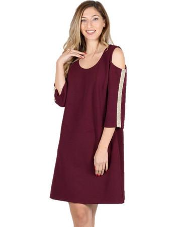 8e2d80d0f9fd Φόρεμα Mini σε Άνετη Γραμμή με Ανοιχτούς ώμους Μπορντό - Μπορντό