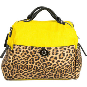7d928c3318 Γυναικεία λεοπάρ τσάντα ώμου ώχρα υφασμάτινη.