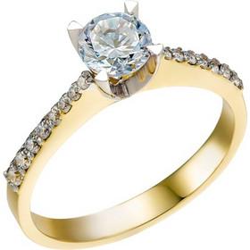 Μονόπετρο δαχτυλίδι από λευκό και κίτρινο χρυσό 14 καρατίων με ζιρκόν.  EL23118 e357a38c26a