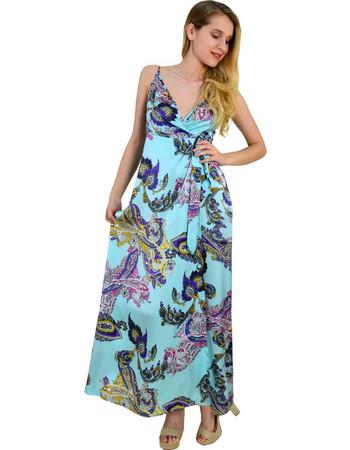 Γυναικείο μάξι σατέν φόρεμα Cocktail σιέλ έθνικ σχέδιο 014000074 60bd87f9a15