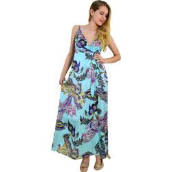 7bba6ce53562 Γυναικείο μάξι σατέν φόρεμα Cocktail σιέλ έθνικ σχέδιο 014000074