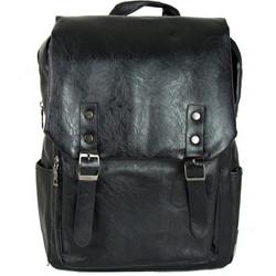 Ανδρικό μαύρο δερματίνη σακίδιο πλάτης με τσέπη S900 c0d680dd8bf