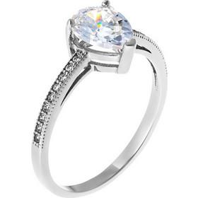 Μονόπετρο δαχτυλίδι σε σχήμα δάκρυ από λευκό χρυσό 14 καρατίων με ζιρκόν.  BD20394W 0927dd4d477