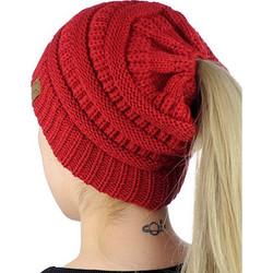 05f4da58f223 CC Letter Ponytail Cap Knitting Hat for Ladies(Red) SK616664