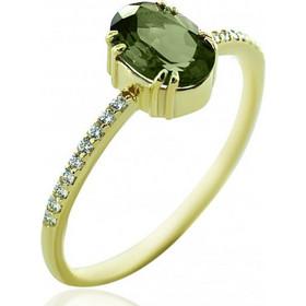 Δαχτυλίδι χρυσό Κ14 με λευκά ζιργκόν και τουρμαρίνη 1384 58fa824209b