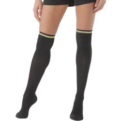 Enrico Coveri μαύρες γυναικείες κάλτσες πάνω από το γόνατο με χρυσή και  μαύρες lurex ρίγες Laura11 c86b029da8b