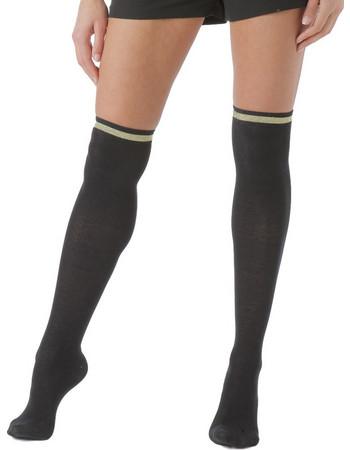 Enrico Coveri μαύρες γυναικείες κάλτσες πάνω από το γόνατο με χρυσή και  μαύρες lurex ρίγες Laura11 841391c4cc0