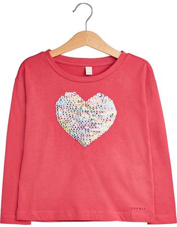 a297ff1e7b94 Esprit παιδικό μακρυμάνικο μπλουζάκι με καρδιά από παγιέτες - RM1021309 -  Κοραλί