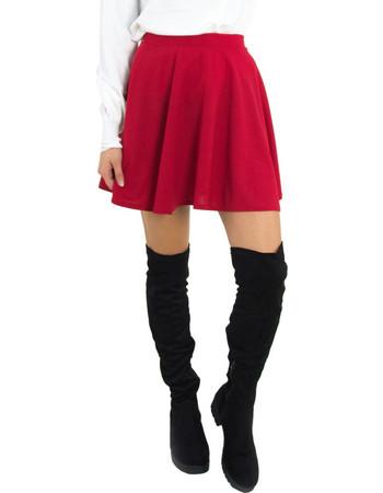 Γυναικεία κόκκινη ψηλόμεση κλος φούστα μονόχρωμη 33697F 8980ef4519a