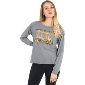 1714b5a9c0fd Γυναικεία γκρι μακρυμάνικη μπλούζα λεοπάρ τύπωμα 1175945G