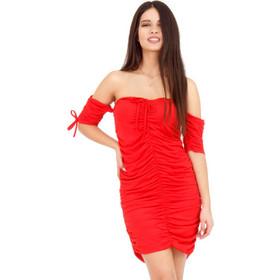 21c9d2aa76c2 Κόκκινο Off - Shoulder Mini Φόρεμα με Σούρες Κόκκινο Silia D