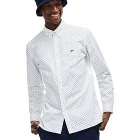522a9de51b8a Lacoste ανδρικό πουκάμισο Mini Signature Print Slim Fit - CH4877 - Λευκό