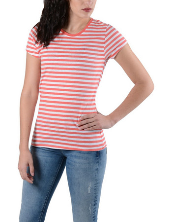 e7fef72ba41c Tommy Hilfiger Linen Blend Stripe Μοντέρνο T-shirt DW0DW04282-903