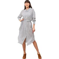15fc4891055 Ριγέ φόρεμα σε στυλ πουκάμισο - Μπλε