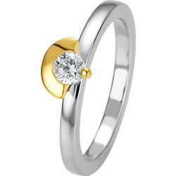Μονόπετρο δαχτυλίδι δίχρωμο με κίτρινο και λευκό χρυσό και διαμάντι κοπής  brilliant 0 92e0435fb44