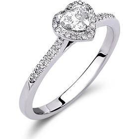 Μονόπετρο δαχτυλίδι από λευκό χρυσό 18 καρατίων με ένα κεντρικό διαμάντι σε  κοπής καρδιάς 0.38ct και μικρότερα διαμάντια περιμετρικά της καρδιάς και  κατα ... d5714c1c815