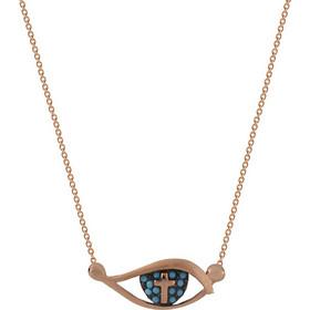 Κολιέ ματάκι και σταυρός ροζ χρυσό ασήμι 925 με γαλάζια τυρκουάζ 8f2d92e87b9
