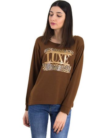 Γυναικεία καφέ πλεκτή μπλούζα λεοπάρ τύπωμα 1175945L 87a335e293e