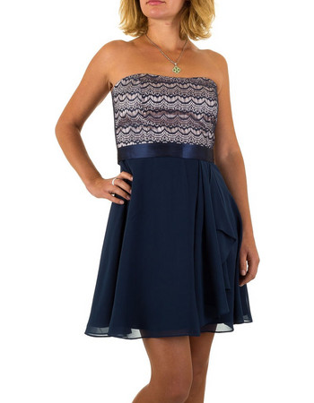 1559 LD Στράπλες μίνι φόρεμα με δαντέλα στο μπούστο - Μπλέ σκούρο 0fd9504a0b1