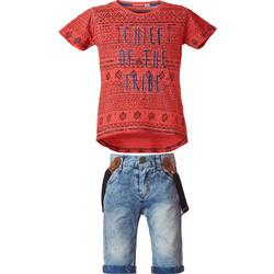 0fb4d10888dd Σετ βερμούδα τζην με τιράντες και T-shirt με εμπριμέ μοτίβο 12-219102-