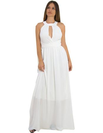 Γυναικείο μάξι φόρεμα εξώπλατο με κολάρο λευκό μονόχρωμο 8222220D 3f06385fb5c