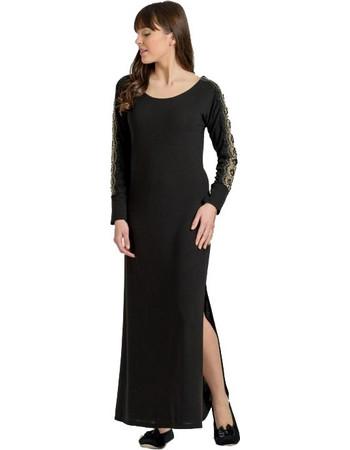 Jeannette Γυναικείο Καφτάνι Homewear Maxi Μαύρο 9fab9784ae9