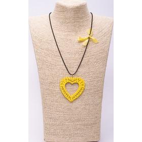 Κολιέ Ξύλινο Κίτρινη Καρδιά 710181b8bd5