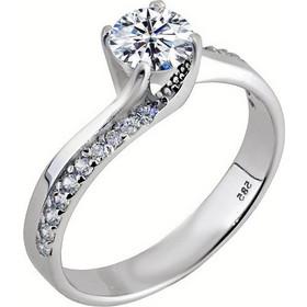 Λευκόχρυσο μονόπετρο δαχτυλίδι   φλόγα   Κ14 με ζιργκόν DMN353A 49d721ea08a