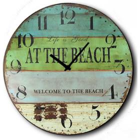 Ρολόι τοίχου Ξύλινο Χειροποίητο Στρογγυλό 32cm - Life At the Beach F3204 c5e8a6475b9