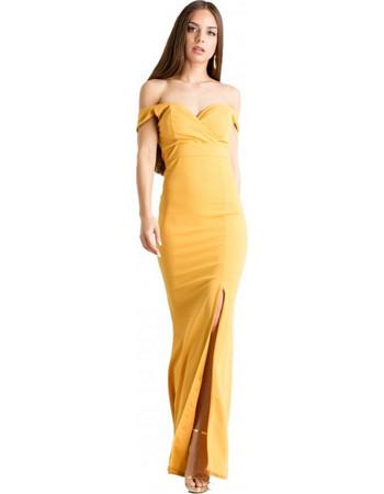 1c19b240d701 F7997 Φόρεμα maxi strapless με σκίσιμο στο πλάι - ΜΟΥΣΤΑΡΔΙ 16221