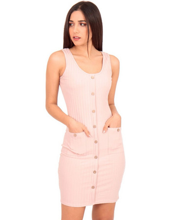 bbcd74fcfb57 Ρόζ Ripped Mini Φόρεμα με Κουμπιά Ρόζ Silia D