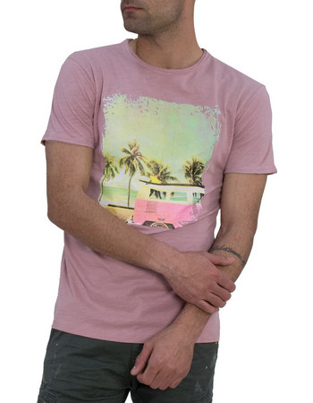 0d56d704c2c1 Ανδρικό βαμβακερό κοντομάνικο Green Wood ροζ τύπωμα 21K601681F
