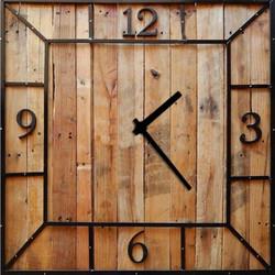 Vintage Ξύλινο Χειροποίητο Τετράγωνο Ρολόι Τοίχου Woody caf122b7f51