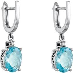 Σκουλαρίκια κρεμαστά από λευκό χρυσό 18 καρατίων με μπλε τοπάζι 4.1ct και  διαμάντι. AS700 24b0b1a7890