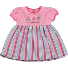 dcae1b837339 Φόρεμα βρεφικό ροζ με ρίγα Watch Me Grow