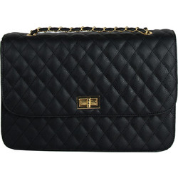 ba51d853fb Γυναικεία μαύρη καπιτονέ τσάντα ώμου χρυσή αλυσίδα 18013F