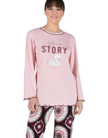Rachel γυναικεία χειμωνιάτικη πιτζάμα ροζ μπλούζα γεωμετρικό εμπριμέ-παντελόνι  11942 5c8ae4eaafe