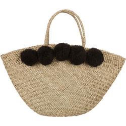 86ea612dbce Ψάθινη τσάντα με πον πον και φόδρα SE0001.A056+1