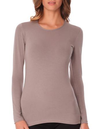 faa9687089c6 Jadea γυναικεία βαμβακερή μακρυμάνικη μπλούζα με κλειστό λαιμό 4055 Μόκα