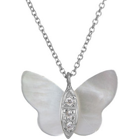 Λευκόχρυσο κολιέ με φίλντισι πεταλούδα Κ14 025719 025719 Χρυσός 14 Καράτια 1863ce49bae